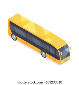 City bus isometric projection icon. Yellow autobus  illustration isolated on white background. Public transport. For game environment, traffic infographics, logo, web design