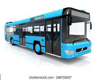 city bus on a white background