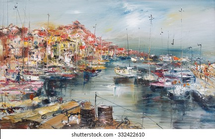 City by the sea and harbor, oil painting artistic background