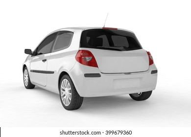 City car with blank surface for your creative design. 3D illustration