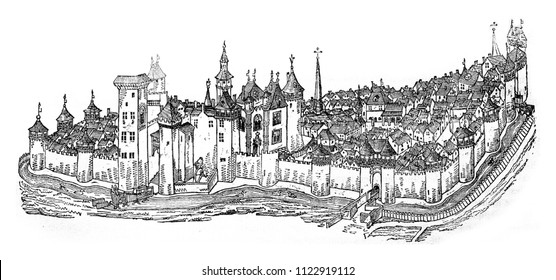 The city and the castle of Moulins, after a manuscript of the fifteenth century