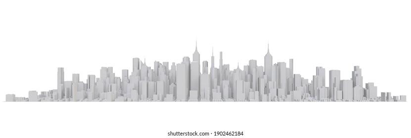 City Center on white background. 3d rendering.