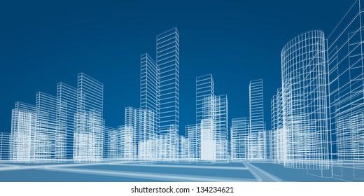 City concept. 3d render image