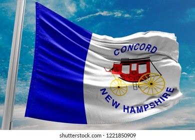 City of Concord Flag Waving, New Hampshire, United States of America, Blue Sky, 3D Illustration