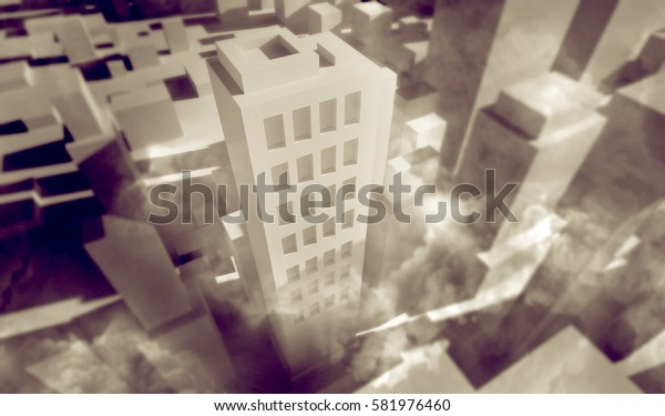City covered in clouds of smog 3D illustration.