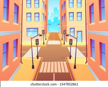 City crossroad with crosswalk. Urban intersection traffic lights, town street crossroads and road junction. Cross road and sidewalk, building and crosswalk cartoon illustration