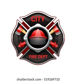 City fire department organization realistic logo emblem design with crossed axes and pumps red black  illustration