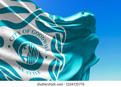 City of Goodwill Close Up Flag Waving, Seattle, United States of America, Blue Sky, 3D Illustration
