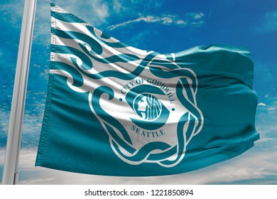 City of Goodwill Flag Waving, Seattle, United States of America, Blue Sky, 3D Illustration