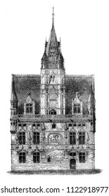 City Hall Compiegne, after a drawing of exhibits at the 1841 show, vintage engraved illustration. Magasin Pittoresque 1841.