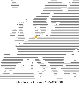 City Hamburg in Germany on grey striped map of Europe with orange dot