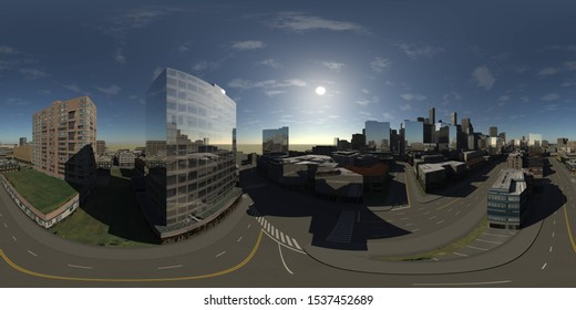City landscape. Modern buildings. HDRI. equidistant projection. Spherical panorama. panorama 360. environment map, 3D rendering