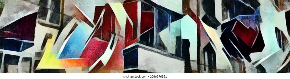 City landscape panorama. Abstraction in the style of cubism. The picture is made by oil on canvas with elements of pastel painting.
