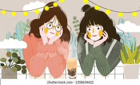 City life winter drinking girlfriends girl of pearl milk tea