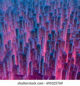 City of light / 3D illustration of city lights at night