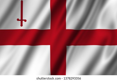 The City London waving flag illustration. Regions of England and United Kingdom. Perfect for background and texture usage.