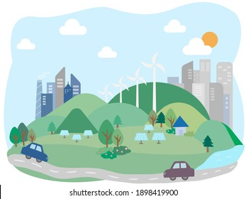 A city with many buildings  And with natural energy, solar energy, wind power, it's a green city with roads and cars.