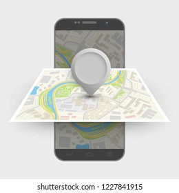 City map itinerary route navigation smartphone, phone point marker, drawing schema, city plan GPS navigation tablet, itinerary destination arrow paper city map. Route delivery check point graphic