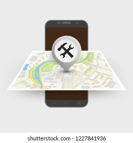 City map itinerary route navigation smartphone, phone point marker, drawing 3d schema, city plan GPS navigation tablet, itinerary destination arrow paper city map. Route delivery check point graphic