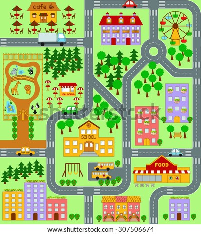 City Map Kids Seamless Pattern Stock Illustration