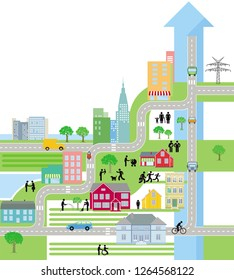 City City Map, Life in the city - Illustration