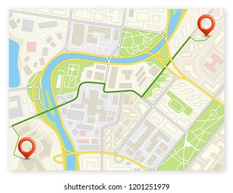 City map navigation delivery route, color check point markers design background, drawing schema, city plan GPS navigation itinerary destination arrow paper city map. Route delivery check point graphic