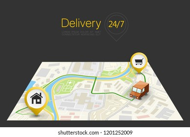 City map navigation delivery route, point markers delivery van, drawing schema itinerary delivery car, city plan GPS navigation, itinerary destination arrow city map Route delivery check point graphic