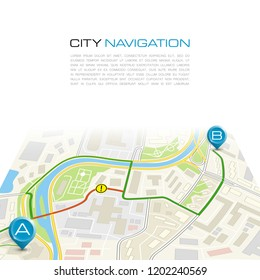 City map navigation route, color point markers design background, drawing schema, simple city plan GPS navigation, itinerary destination arrow paper city map. Route delivery check point graphic