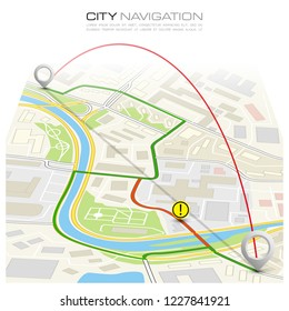 City map navigation route, itinerary point markers design background, drawing schema, simple city plan GPS navigation, itinerary destination arrow paper city map. Route delivery check point graphic