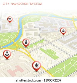 City map navigation route, point markers delivery van, road schema itinerary delivery car, city plan GPS navigation, itinerary destination arrow city map. Route delivery truck check point graphic