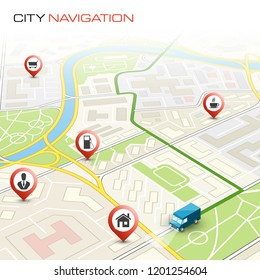City map navigation route, point markers delivery van, schema itinerary delivery car, city plan GPS navigation map, itinerary destination arrow city map. Route delivery truck check point graphic