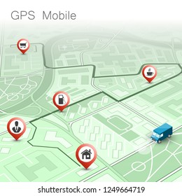 City map navigation route, point markers delivery van, isometry schema itinerary delivery car, city plan GPS navigation, itinerary destination arrow city map. Route delivery truck check point graphic