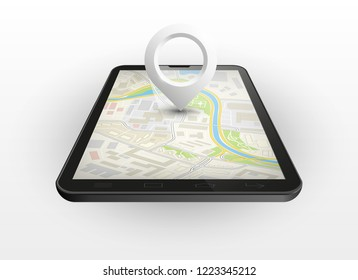 City map route delivery navigation smartphone, phone point marker, drawing schema, simple city plan GPS navigation tablet, itinerary destination arrow paper city map Route delivery check point graphic