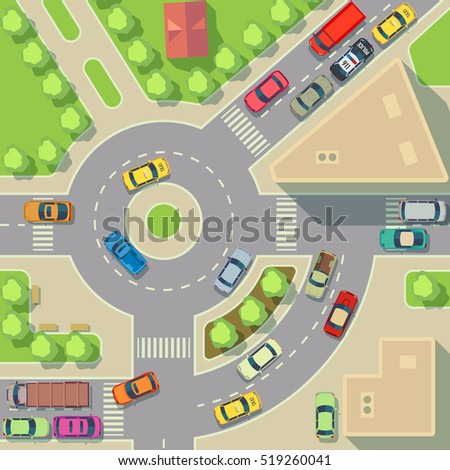 City Map Top View Cars Houses Stock Illustration 519260041