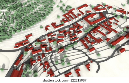 City master plan in aerial view
