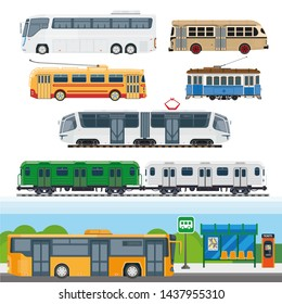City means of transportation set. Types of buses, minibuses, railroad trains, trolleybuses using trolley poles, trackless tram, school buses and suburban trains.  illustration of transport cars