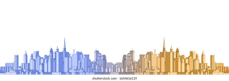 city metropolis architectural landscape 3d illustration