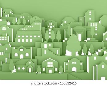 City night concept on green
