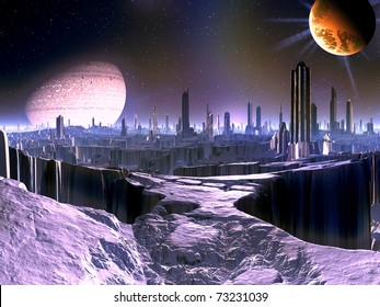 City on Dying Alien World with Satellite Ship in orbit
