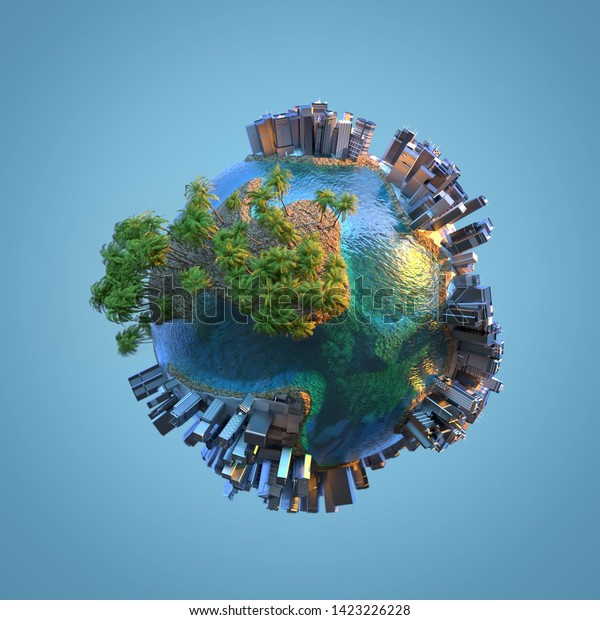 city on a small planet, 3d illustration