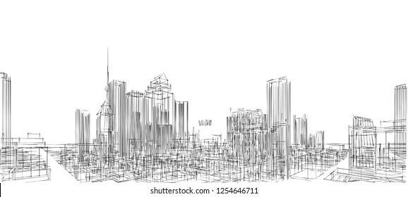 city, panorama, 3d illustration