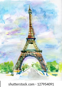 City of Paris in watercolor. Painting of The Eiffel Tower