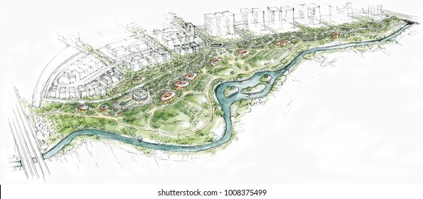 Landscape Architecture Blueprints Inside City Park Along The River Landscape Architecture Drawings Images Stock Photos u0026 Vectors