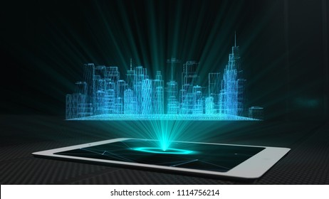 City projection futuristic holographic display phone tablet hologram technology - Conceptual design 3d render
