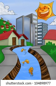 city with a river, some fishes in the water and a bright sun