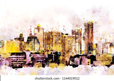 City scape illustration image with watercolor drops. Computer generated image of watercolor painting.