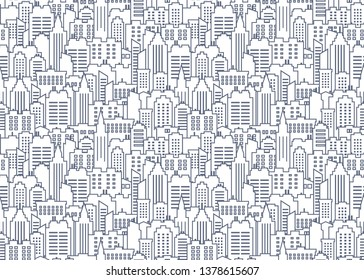 City scape seamless pattern. Thin line City background. Downtown landscape with high skyscrapers. Panorama architecture City scape wallpaper. Goverment buildings line illustration.
