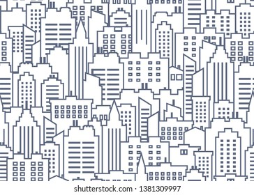 City scape seamless pattern. Thin line City background. Downtown landscape with high skyscrapers. Panorama architecture City landscape wallpaper. Goverment buildings outline illustration.