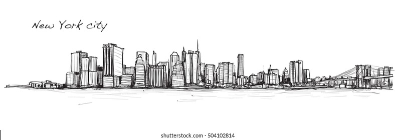 city scape sketch drawing in New York city, illustration