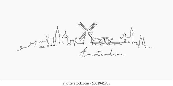 City silhouette amsterdam in pen line style drawing with black lines on white background
